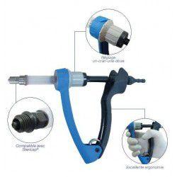 Seringue Automatique Injectmaster Génia dosage 2ml réglable, précision et maniabilité. Modèle avec tuyau.  Embase en métal.